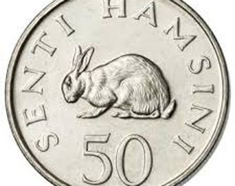 Rabbit coin from Tanzania - Collectible coins - coins for crafts - Easter - KM2 KM26 - 50 senti - Hare - uncirculated condition - 1966-1980