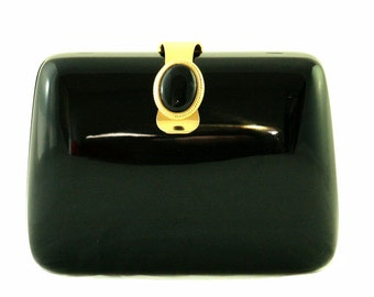 Vintage Black Acrylic Clutch With Black Brooch