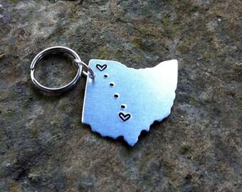 CUSTOM USA Key chain / Long Distance Love Handstamped Keychain