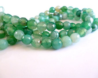 Facetted Green Agate Beads_CP00248200945_Gems_6 mm Facet. Agate _Green Stripped_1 mm hole_Strand 60 pcs