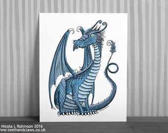 Blue Dragon Wall Art, Dragon For Kids Room, Dragon Art Print Illustration, Fantasy Illustration, Dragon Decor, Nursery Dragon Art
