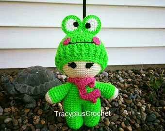 Frog doll. Crochet Frog doll. Frog baby doll. Handmade Frog doll. Doll with Frog hat.