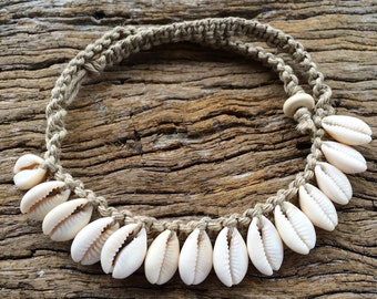 Hand Made Hemp Macrame Baby/Child Shell Necklace with Cowrie Shells, Bohemian Sea Gypsy