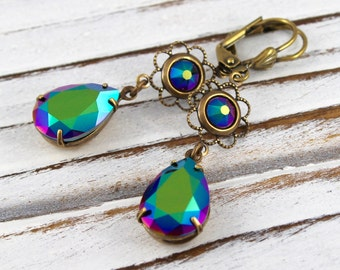 Rainbow Drops - vintage style antique brass earrings - Sweet Adornments Collection