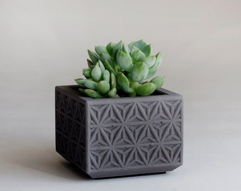 MINI Concrete Succulent Planter, Triangle Pattern, Charcoal Grey