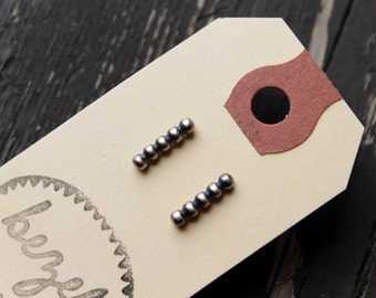 Bead Dot Oxidized Sterling Silver Posts Studs