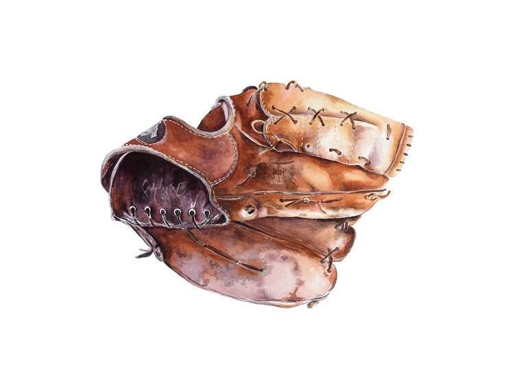 Baseball Glove Painting : Vintage baseball glove watercolour painting x