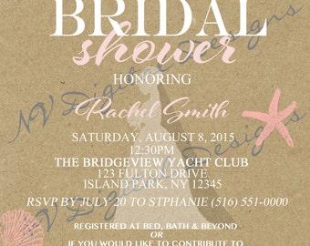 Bridal Shower invitation- beach theme- Shower invitation- Digital file- 5x7