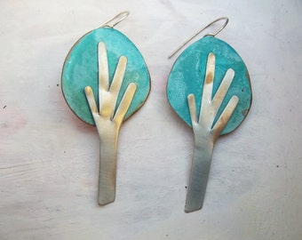 Minimal Autumn Trees Handmade Earrings, Unique Gift For Her