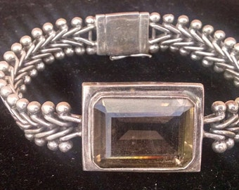 Vintage Designer Signed Lori Bonn Sterling Silver Bracelet With Faceted Stone