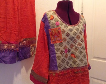 Vintage Faith Pantsuit Beaded Capri pants and Top boho patchwork