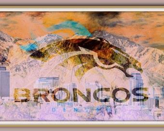 Denver Broncos Wall Decor denver broncos art | etsy