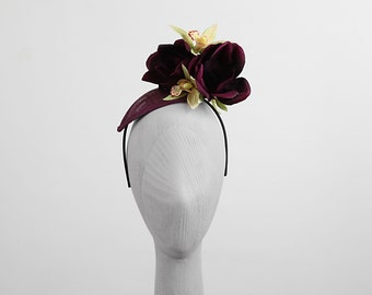 PLUM FLORA & ORCHIDS (Headpiece/ Fascinator)