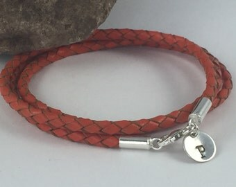 Initial Triple Wrap Braided Orange Leather Bracelet, Leather Initial Bracelet, Leather Bangle, Women's Leather Bracelet, Unisex  Bracelet