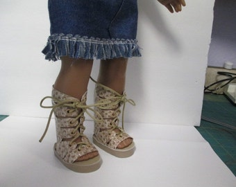"""Faux Snakeskin --High fashion Gladiator Sandals -for 18"""" Dolls--Shown on my american girl doll"""
