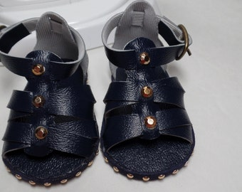 """Navy Blue Sandals-- for 18"""" Dolls--Shown on my American Girl Doll"""