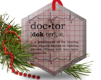 Funny Christmas Ornament - Doctor Definition- Beveled Glass Hexagonal