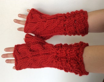 Hand Knit Red Color Fingerless Mittens/ Gloves - Wrist Warmers- One Size Fits All