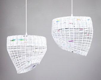 White hanging eco paper lamp Kitchen pendant light Nordic style Simple geometric shape Oryginal decorative modern lamp White Coffee