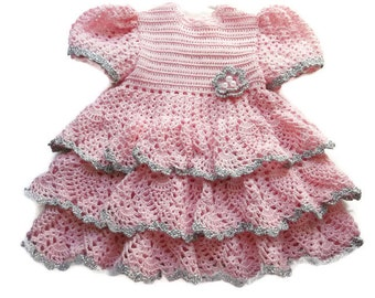 Crochet Baby Dress, Infant, preemie, Newborn, Reborn Doll Clothes, Pink with a dash of silver