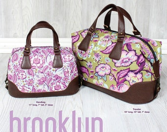 Swoon Paper Pattern: Brooklyn Handbag & Traveler - Vintage Purse Tote Handbag Sewing Pattern