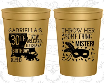30th Birthday Cups (C20246) Cheap Plastic Party Cups, Nola Birthday Cups, Mardi Gras Birthday Cups, Birthday Cups