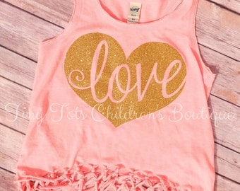 Love Glitter Fringe Shirt - Girls Tank - Vinyl Shirt - Girls Fringe Shirt - Love - Valentine - Girly Tank