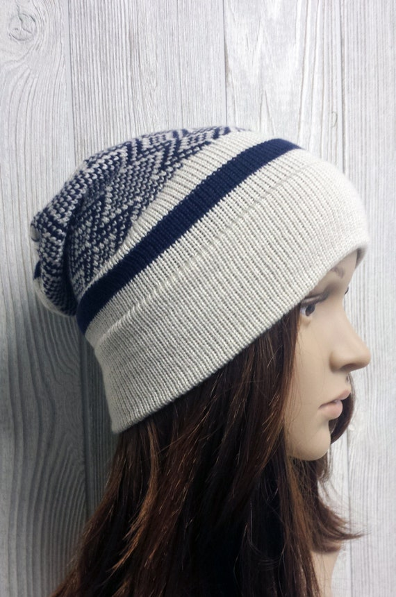 Knit Slouchy Beanie Toque Navy Blue and Tan Fair Isle