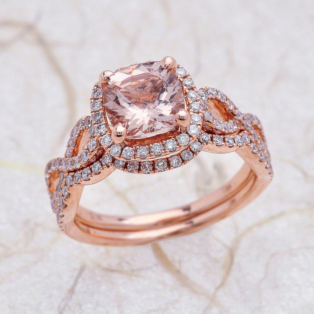 rose gold morganite engagement ring and diamond wedding band. Black Bedroom Furniture Sets. Home Design Ideas