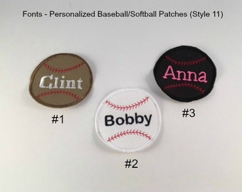 PERSONALIZED Baseball or Softball IRON ON Patch - Magnetic Patch (Style 11) - Applique Patch, Embroidered Patch, Made to Order, Sports Patch