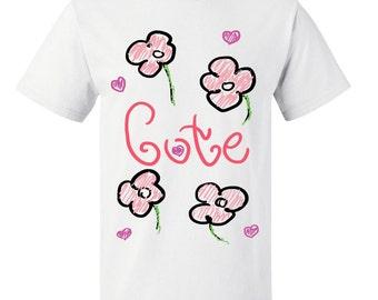 Girls Cute Pink Flowers Kids T Shirt