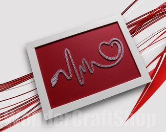 Love Gift for Her, Love Sign, I Love You, Heartbeat, Love Heart, heart gift, beating heart, Valentines Day, heart pulse,  Quilled heart, EKG