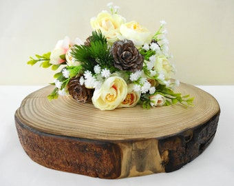 "11"" Tree Slice, Tree Stump, Wood Slice, Cake Stand, Charger, Wood Slice, Wedding Decor, Tree Trunk Slice, Rustic Home Decor,Seasonal,E13"