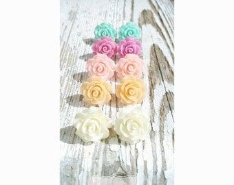 Rose Flower Stud Earrings, Stud Earring Post, Nickel Free Flower Earing, Rose Flower Earring, Accessory Earring, Floral Jewery, Fake Gauge
