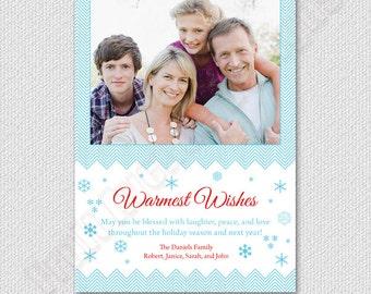 Holiday Photo Card, Christmas Photo Card, Happy Holidays, Warmest Wishes Photo Card, Digital Printable Photo Card, Blue Chevron, Snowflakes