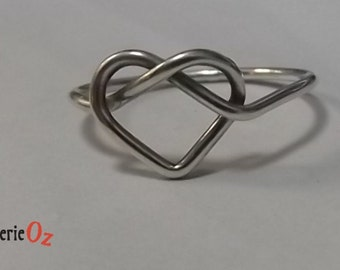 Heart Knot Ring recycled .925 Sterling Silver Heart Knot Ring Handmade by BijouterieOz.