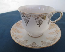 Queen Anne Bone China Teacup & Saucer England Marked  Vintage Collectible Bone China Dining