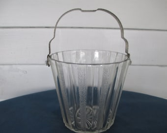 Vintage Art Deco Barware Ice Bucket Vintage Anchor Hocking Vintage Bar Vintage Drinkware Art Deco Glass Collectible Glass Frosted Glass