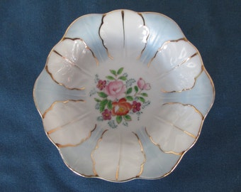 Vintage Occupy Japan Blue & White Dish With Floral Center Vintage Collectible Plates Home Decor
