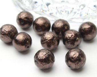 Matted Brown Glass Pearls 10mm 12pcs