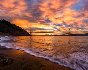 San Francisco Art - California Beach Photo - Romantic Golden Gate Bridge Print - California Sunset Picture - Vibrant Stunning Colors