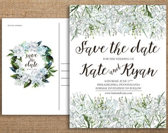 Save the Date Postcards in Rustic Boho Vintage Watercolor Baby's Breath Calligraphy Design