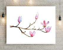 Magnolia Watercolor Painting - Giclee Print - Magnolia flower Wall Decor - Pink Art - illustration - magnolia branch art - home decor