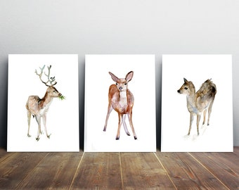 Set of 3 deer Art Prints Fawn  Watercolor paintings Animal Painting Antler Art Home Decor Forest Animal Art