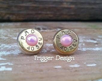 40 Caliber Bullet Casing Post Earrings- Light Pink Pearl