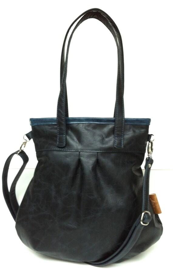 """Leather handbag , Leather Shoulder Bag """" SHELLY BAG """" Black Beauty"""