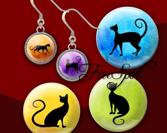 Black silhouette cat Animal - Digital Collage Sheet 20mm 18mm 16mm 14mm 12m circle Glass Pendants,Bottlecaps,Scrapbooking