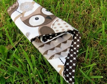 Owls.  A doggy bandana, size small.  20 inches x 7.8 inches.  51cm x 19.5cm.