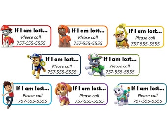 Set of 8+ Custom Temporary Tattoos - Emergency Contact Info / If Lost - Paw Patrol Pups