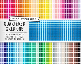 Rainbow Grid Digital Paper Download, Quarter Inch Grid Pattern, Grid Paper for Scrapbooking, Cardmaking, Grid Background, Grid PNG Files